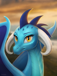 Size: 900x1200 | Tagged: artist:scheadar, bust, curved horn, dragon, dragoness, dragon lord ember, female, looking at you, portrait, princess ember, safe, slit eyes, smiling, solo