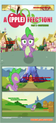 Size: 1919x4225 | Tagged: artist:estories, comic, comic:a(pple)ffection, dragon, running, safe, solo, spike, twilight's castle