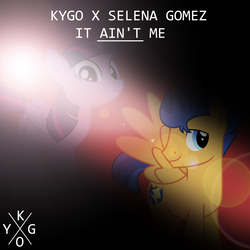 Size: 800x800 | Tagged: artist:chainchomp2 edit, artist:penguinsn1fan, artist:tomfraggle, cover, flash sentry, kygo, lyrics in the comments, parody, pony, safe, selena gomez, twilight sparkle