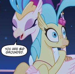 Size: 596x586   Tagged: safe, princess skystar, queen novo, classical hippogriff, hippogriff, my little pony: the movie, my little pony: the movie adaptation, spoiler:my little pony movie adaptation, adaptation, eyes closed, faic, female, freckles, grounded, laughing, mama novo, mother and daughter, motherly, motherly love, mothers gonna mother, oh crap face, punishment, you are so grounded