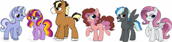 Size: 1280x319 | Tagged: artist:tambelon, clydesdale, earth pony, female, magical lesbian spawn, male, mare, next generation, oc, oc:evening glow, oc:jack-o-trades, oc:mascarpone cheesecake, oc:night twinkle, oc only, oc:social butterfly, oc:thunderhead, offspring, parent:applejack, parent:cheese sandwich, parent:fluttershy, parent:pinkie pie, parent:rainbow dash, parent:rarity, parents:cheesepie, parents:flarity, parents:startrix, parents:sunsetsparkle, parent:starlight glimmer, parents:thunderdash, parents:troublejack, parent:sunset shimmer, parent:thunderlane, parent:trixie, parent:troubleshoes clyde, parent:twilight sparkle, pegasus, pony, safe, stallion, unicorn, watermark