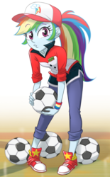 Size: 620x1000   Tagged: safe, artist:ta-na, rainbow dash, epic fails (equestria girls), eqg summertime shorts, equestria girls, ball, cap, clothes, converse, cute, dashabetes, female, football, hat, looking at you, shoes, shorts, sneakers, solo, sports, wristband