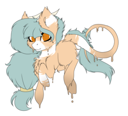 Size: 3441x3121 | Tagged: artist:crazllana, earth pony, female, high res, horns, melting, oc, oc:forest keeper, oc only, pony, safe, simple background, solo, transparent background
