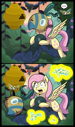 Size: 969x1650 | Tagged: safe, artist:vavacung, fluttershy, bee, flash bee, a health of information, ..., beehive, caught, cute, exclamation point, healer's mask, mask, queen bee, shyabetes, this will end in pain
