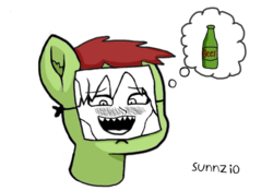 Size: 1255x880 | Tagged: safe, artist:dwk, artist:sunnzio, alcohol, beer, fanart, paper-thin disguise, solo, thought bubble