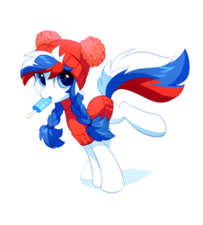 Size: 1200x1327 | Tagged: safe, artist:tomatocoup, oc, oc only, oc:marussia, earth pony, pony, are, clothes, food, ice cream, mouth hold, nation ponies, popsicle, russia, simple background, solo, sweater, transparent background