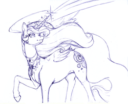Size: 3068x2508 | Tagged: safe, artist:longinius, princess luna, alicorn, pony, ballpoint pen, female, jewelry, mare, monochrome, raised hoof, sketch, solo, traditional art, wings
