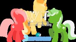 Size: 2600x1437 | Tagged: safe, artist:arifproject, oc, oc only, oc:downvote, oc:favourite, oc:upvote, alicorn, earth pony, pony, unicorn, derpibooru, alicorn oc, derpibooru logo, derpibooru ponified, female, flying, hooves, horn, lineless, logo, mare, meta, minimalist, modern art, ponified, raised hoof, simple background, transparent background, vector, wings, wip
