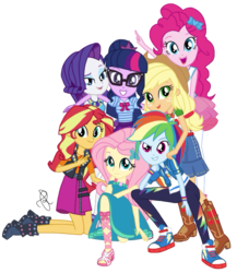Size: 1780x2048 | Tagged: safe, artist:ilaria122, applejack, fluttershy, pinkie pie, rainbow dash, rarity, sci-twi, sunset shimmer, twilight sparkle, equestria girls, equestria girls series, official, adorkable, applejack's hat, belt, boots, bow, bowtie, clothes, confident, converse, cowboy hat, cute, dork, dress, female, freckles, geode of empathy, geode of fauna, geode of shielding, geode of super speed, geode of super strength, geode of telekinesis, glasses, happy, hat, high heels, humane five, humane seven, humane six, jacket, kneeling, magical geodes, multicolored hair, new design, new outfit, not a vector, pants, ponytail, sandals, shoes, signature, simple background, skirt, sneakers, standing, stetson, sweatshirt, toes, transparent background, twiabetes