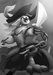 Size: 1000x1414 | Tagged: safe, artist:edowaado, captain celaeno, anthro, parrot, my little pony: the movie, chains, clothes, female, grayscale, hat, monochrome, pirate hat, shackles, sword, weapon