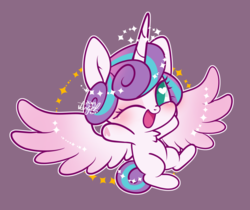 Size: 1200x1006 | Tagged: safe, artist:snow angel, princess flurry heart, alicorn, chest fluff, cute, female, filly, flurrybetes, heart, heart eyes, heart hoof, looking at you, one eye closed, pink background, simple background, solo, weapons-grade cute, wingding eyes, wink