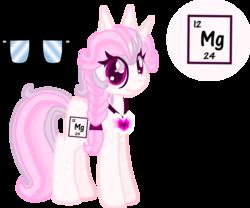Size: 1297x1081 | Tagged: safe, artist:casanova-mew, oc, oc only, oc:magnesium, object pony, original species, pony, unicorn, element pony, female, glasses, magnesium, mare, ponified, reference sheet, solo