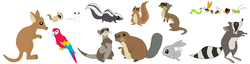 Size: 1086x278   Tagged: safe, artist:selenaede, beaver, bee, caterpillar, chipmunk, ferret, insect, kangaroo, ladybug, macaw, mouse, otter, parrot, rabbit, raccoon, scarlet macaw, skunk, squirrel, wasp, animal, cricket (insect), simple background, white background