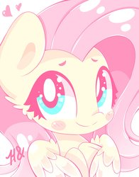 Size: 3218x4096   Tagged: safe, artist:hungrysohma, fluttershy, pegasus, pony, blush sticker, blushing, bust, cute, female, hooves to the chest, hug, looking at you, mare, portrait, self-hugging, shyabetes, simple background, smiling, solo, sweet dreams fuel, winghug
