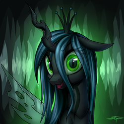 Size: 3000x3000 | Tagged: artist:setharu, bust, cave, cavern, changeling, changeling queen, crown, cute, cutealis, fangs, female, floppy ears, jewelry, looking at you, open mouth, portrait, queen chrysalis, regalia, safe, signature, slit eyes, smiling, solo