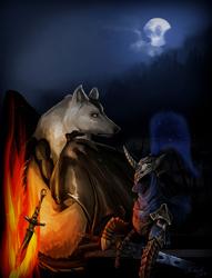 Size: 2724x3573 | Tagged: safe, artist:duh-veed, princess luna, pony, armor, artorias, bonfire, crossover, dark souls, female, fire, great grey wolf sif, moon, solo, sword, weapon