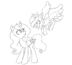 Size: 2620x2355 | Tagged: alicorn, artist:robiinart, duo, female, flying, looking up, mare, pony, princess celestia, princess luna, safe, simple background, sketch, white background, young celestia, young luna