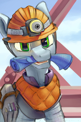 Size: 1440x2180 | Tagged: safe, artist:weirdcloud, oc, oc only, pony, blueprint, construction site, engineer, helmet, mouth hold, saddle bag, solo