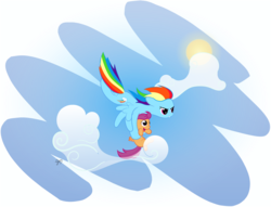 Size: 5000x3818 | Tagged: safe, artist:kiwifingers, rainbow dash, scootaloo, pegasus, pony, absurd resolution, cloud, duo, female, filly, flying, holding a pony, mare, scootalove