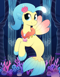 Size: 3500x4472 | Tagged: safe, artist:moozua, princess skystar, pony, seapony (g4), my little pony: the movie, absurd resolution, bioluminescent, blue eyes, coral, cute, female, fin wings, fins, fish tail, flower, flower in hair, freckles, jewelry, mare, necklace, pearl necklace, seaquestria, seashell necklace, smiling, solo, tail, underwater, water, wings