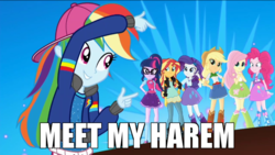 Size: 700x394 | Tagged: appledash, applejack, edit, edited screencap, eqg summertime shorts, equestria girls, female, flutterdash, fluttershy, get the show on the road, harem, humane seven, image macro, implied lesbian, lesbian, meme, pinkiedash, pinkie pie, rainbow dash, rainbow dash gets all the mares, rapper dash, raridash, rarity, safe, sci-twi, scitwidash, screencap, shipping, sunsetdash, sunset shimmer, text, twidash, twilight sparkle
