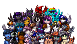 Size: 2469x1402 | Tagged: safe, artist:ravensunart, oc, oc:audina puzzle, oc:bassy, oc:blacklight, oc:charmed fortune, oc:coin chaser, oc:dante, oc:disterious, oc:flint, oc:grem, oc:intrepid charm, oc:jet stream, oc:luminaire, oc:mercury shine, oc:nightwing, oc:rainbow scout, oc:raven sun, oc:shadow sky, oc:sigmatau, oc:silver scroll, oc:silver thread, oc:thunder chaser, bat pony, changeling, deer, eevee, griffon, pegasus, phoenix, pony, unicorn, bandana, black mane, blue eyes, blue mane, blushing, braid, brown eyes, brown mane, candy, changeling oc, closed mouth, clothes, cookie, ear piercing, earring, eyes closed, fangs, feather, floppy ears, flower, food, glasses, green eyes, group, group photo, hat, hazel eyes, hazel mane, heart, highlights, horn, jewelry, kiss on the cheek, kissing, long mane, multicolored eyes, multicolored fur, multicolored hair, multicolored mane, nom, one eye closed, open eyes, open mouth, orange mane, piercing, pink mane, pokémon, purple eyes, purple mane, rainbow hair, red eyes, scarf, shamrock, short mane, simple background, skittles, smiling, smirk, sparkles, spread wings, tongue out, waving, white background, wings, wink, yellow eyes