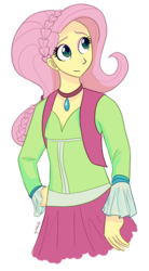 Size: 1060x1920 | Tagged: alternate hairstyle, artist:gintoki23, braid, clothes, equestria girls, fluttershy, folk fluttershy, friendship through the ages, safe, skirt, solo