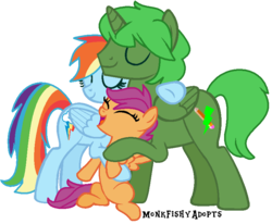 Size: 808x666 | Tagged: safe, artist:monkfishyadopts, rainbow dash, scootaloo, oc, oc:green thunder, alicorn, pony, alicorn oc, base used, canon x oc, cute, cutealoo, dashabetes, family, female, greendash, hug, male, never doubt blaa6 involvement, parent:oc:green thunder, scootalove, smiling
