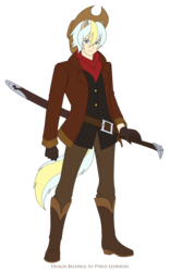 Size: 1951x3131 | Tagged: safe, artist:pyrus-leonidas, oc, oc only, oc:drift blade, human, clothes, humanized, male, offspring, pants, parent:applejack, parent:double diamond, parents:doublejack, simple background, solo, tailed humanization, transparent background