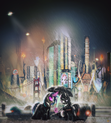 Size: 2000x2213 | Tagged: safe, artist:ruhisu, dj pon-3, octavia melody, vinyl scratch, pony, ballerina, blade runner, blade runner 2049, bridge, city, clothes, crossover, cyberpunk, levitation, magic, rain, raised hoof, sunglasses, telekinesis