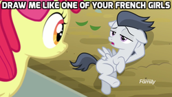 Size: 1024x576 | Tagged: safe, screencap, apple bloom, rumble, pegasus, pony, marks and recreation, colt, discovery family logo, draw me like one of your french girls, image macro, male, meme, rumbloom, shipping, straight