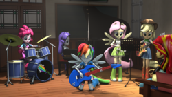 Size: 4096x2304 | Tagged: safe, artist:oc1024, applejack, fluttershy, pinkie pie, rainbow dash, rarity, sunset shimmer, equestria girls, 3d, bass guitar, clothes, drums, eyes closed, musical instrument, ponied up, source filmmaker, tambourine, the rainbooms, updated