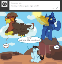 Size: 1280x1315 | Tagged: safe, artist:mediponee, changedling, changeling, griffon, pony, unicorn, crossover, medic, ponified, sniper, spy, team fortress 2