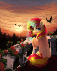 Size: 2000x2500 | Tagged: safe, artist:graypillow, sunset shimmer, bird, pony, beautiful, cup, flower, looking at you, looking back, looking back at you, magic, rose, scenery, smiling, solo, sunset, teacup