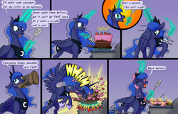 Size: 1600x1032 | Tagged: safe, artist:omny87, princess luna, alicorn, pony, adorkable, cake, comic, cooking, cute, dork, eyes closed, female, floppy ears, food, gradient background, hammer, hammerspace, hammerspace wings, levitation, lunabetes, magic, mallet, mare, messy, misunderstanding, mouth hold, open mouth, pan, pancakes, silluna, silly, silly pony, slice of life, smiling, solo, sound effects, spatula, spread wings, telekinesis, wings, you tried