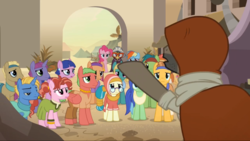 Size: 1366x768 | Tagged: a.k. yearling, aroma hathor, background pony, cactus fruit, clothes, crowd, daring do, daring done?, desert flower, doctor caballeron, dress, earth pony, female, glasses, headband, hijab, hood, iahjmehet, kino makoto, lunar bay, male, mare, pegasus, pepperberry (g4), pinkie pie, pony, rainbow dash, safe, screencap, somnambula (location), somnambula resident, stallion, unicorn, unnamed pony