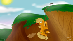 Size: 1776x1000 | Tagged: applejack, artist:zeezou2, chest fluff, cliff, earth pony, female, floppy ears, fluffy, hat, mare, newbie artist training grounds, peril, pony, rope, safe, scared, solo, unshorn fetlocks