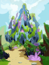 Size: 1920x2540 | Tagged: safe, edit, screencap, to change a changeling, background, bag, changeling hive, cloud, fern, flower, flying, moss, no pony, plant, scenery, vine