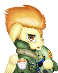 Size: 2300x2900 | Tagged: safe, artist:qbellas, spitfire, pegasus, pony, bust, clothes, crossover, female, helmet, mare, simple background, solo, titanfall, transparent background, uniform