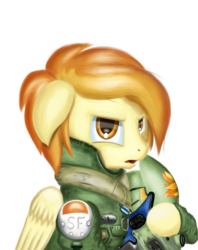 Size: 2300x2900 | Tagged: safe, artist:qbellas, spitfire, pegasus, pony, bust, clothes, crossover, female, helmet, loose hair, mare, simple background, solo, titanfall, transparent background, uniform
