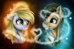 Size: 4600x3058 | Tagged: safe, artist:gaelledragons, derpy hooves, doctor whooves, time turner, earth pony, pegasus, pony, lovestruck derpy, blushing, bust, doctor who, doctorderpy, female, grin, heart, high res, looking at each other, male, mare, portrait, shipping, smiling, smiling at each other, sonic screwdriver, stallion, straight, the doctor