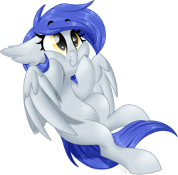 Size: 1024x1008 | Tagged: safe, artist:kellythedrawinguni, oc, oc only, oc:gabriel, bat pony, hybrid, pegasus, pony, commission, cute, female, floppy ears, flying, looking up, mare, ocbetes, pegabat, simple background, smiling, solo, spread wings, squishy cheeks, transparent background, wings