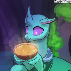 Size: 750x750 | Tagged: artist:lumineko, bowl, changedling, changeling, curved horn, cute, cuteling, eyes on the prize, floppy ears, food, hoof hold, male, :p, safe, smiling, solo, soup, soupling, that changeling sure does love soup, to change a changeling, tongue out, underhoof