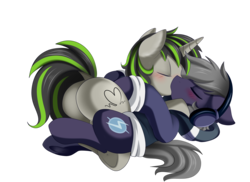 Size: 3509x2550   Tagged: safe, artist:pridark, oc, oc only, oc:beat, oc:plot frequency, pony, unicorn, blushing, clothes, commission, eyes closed, female, floppy ears, headphones, kissing, male, mare, oc x oc, plot, shipping, simple background, straight, sweater, transparent background