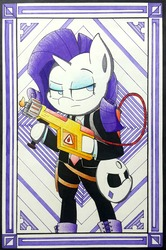 Size: 2200x3316   Tagged: safe, artist:mustachedbain, rarity, pony, unicorn, bipedal, clothes, female, flamethrower, hoof hold, mare, payday 2, ski mask, solo, traditional art, weapon