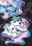 Size: 859x1236 | Tagged: safe, artist:cutepencilcase, princess luna, alicorn, pony, chibi, eyes closed, female, full moon, mare, moon, smiling, solo, tangible heavenly object, traditional art