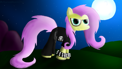 Size: 1600x900 | Tagged: safe, artist:arterialblack716, fluttershy, pegasus, pony, angry, atg 2016, belt, chains, clothes, death metal, deathcore, ear piercing, eyeshadow, frown, goth, grass, hill, looking at you, makeup, messy mane, moon, mountain, newbie artist training grounds, night, pants, piercing, shirt, sky, solo, spiked wristband, standing, stars, wristband