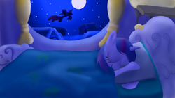 Size: 1600x900 | Tagged: safe, artist:arterialblack716, princess luna, twilight sparkle, alicorn, pony, unicorn, atg 2016, bed, blanket, curtains, eyes closed, flying, golden oaks library, newbie artist training grounds, night, pillow, sky, sleeping, stars, window