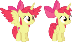 Size: 11137x6400 | Tagged: safe, artist:parclytaxel, apple bloom, alicorn, pony, .svg available, absurd resolution, alicornified, bloomicorn, colored wings, colored wingtips, female, filly, race swap, simple background, smiling, solo, transparent background, two toned wings, vector