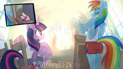 Size: 1200x675   Tagged: safe, artist:1trick, rainbow dash, spike, twilight sparkle, alicorn, dragon, pegasus, pony, anthro, blue fur, chair, clothes, duo focus, eyes closed, fart noise, female, gym shorts, laughing, mare, mischevious, multicolored mane, multicolored tail, onomatopoeia, podium, presentation, purple eyes, purple fur, rear view, shorts, side slit, sitting, sound effects, tanktop, tomboy, transformation, twilight sparkle (alicorn), watermark, whoopee cushion